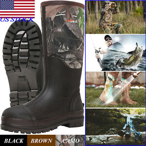 HISEA Men#x27;s Muck Work Boots Rubber Neoprene Insulated Breathable Hunting Boots