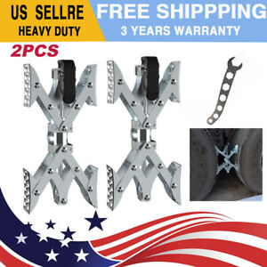 Trailer Camper RV 2 X Chock Wheel Stabilizer 1 Ratchet Handle Tire Locking Chock