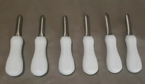 3quot; White Boston Style Oyster Knife w Hourglass Handle Lot of 6
