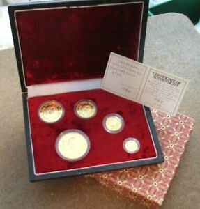 1986 CHINA 5 PIECE GOLD PANDA PROOF SET..TOTALLY ORIGINAL ..SPOT FREE