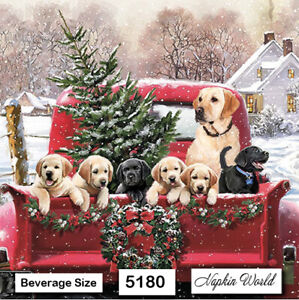 5180 TWO Individual Paper BEVERAGE COCKTAIL Decoupage Napkins DOGS RED TRUCK