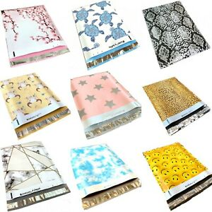 100 Designer Poly Mailers Plastic Envelopes Shipping Bags Custom #SmileMail® $15.95