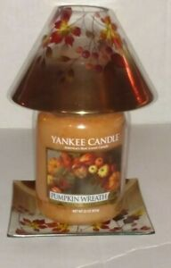 YANKEE CANDLE GOLD OMBRE COLLECTION GLASS JAR SHADE amp; PLATE SET CANDLE NWTS