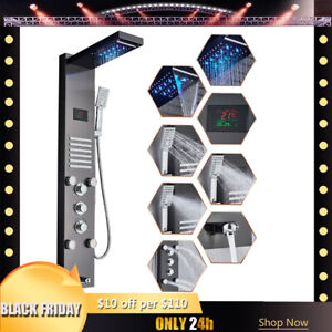 ELLOamp;ALLO LED Shower Panel Stainless Steel Rainamp;Waterfall Tower Massage System