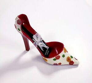 High Spirits Wine Bottle Holder High Heel Shoe Floral Splash Hand Painted
