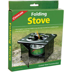 Coghlan#x27;s Folding Stove Burns Camp Heat Canned Fuel or Solidified Alcohol