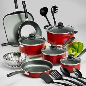 18 Piece Cookware Set Pots Pans Kitchen Cooking Non Stick Home Dinning Cook Red $50.33