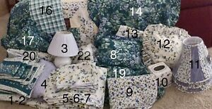 VINTAGE LAURA ASHLEY BRAMBLE BERRY POLYANTHUS FLORAL GINGHAM TWIN BEDDING