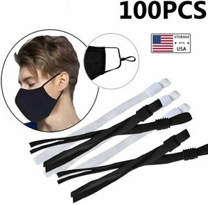 100Pcs Sewing Elastic Band Cord with Adjustable Buckle for DIY Face Mask Sewing $8.27
