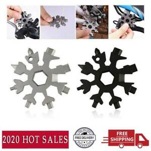 18 In 1 Multi Tool Stainless Tool Snowflake Shape Key Chain Screwdriver US