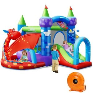 Kids Inflatable Bounce House Dragon Jumping Slide Bouncer Castle