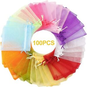 NEW 100PCS Gift Bags 4x4.72quot; Mixed Color Bags with Drawstring Premium Candy J