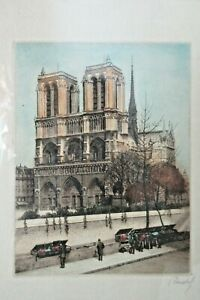 19thc. Copperplate Color Engraving Etching NOTRE DAME Signed REIDEL Springfield $74.99