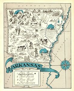 1930s Antique ARKANSAS State Map RARE Animated Picture Map of Arkansas BLU 6894