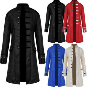 Victorian Men Frock Coat Steampunk Tailcoat Long Jacket Vamp Gothic Retro S 4XL $36.99