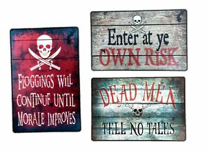 3 pc Metal Pirate Themed Wall Art Decoration Signs Halloween Haunted House Decor $26.95
