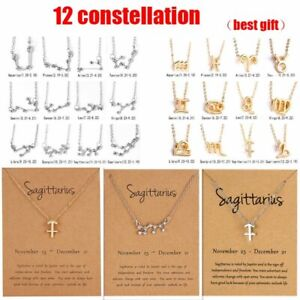 12 Constellation Pendant Necklace Zodiac Signs Women Clavicle Chain Jewelry Lot $0.99