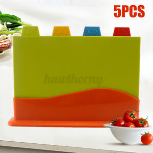 CUTTING BOARD PLASTIC SET WITH STAND CHOPPING BOARDS WITH FOOD ICON INDEX COLOR $22.74