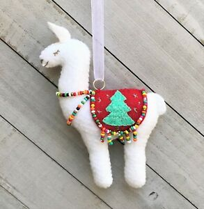 Llama Christmas Ornament Holiday Felt Embroidery Kit Two sided Makes 1