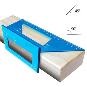 Angle Measuring Size Measure Scriber T Ruler Woodworking 45 90° Aluminum Alloy $16.37