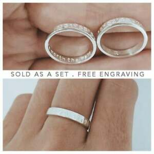 Solid 925 Sterling Silver Long Distance Engraved Couples Ring Jewelry Gift Her