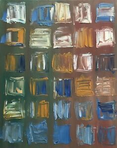Vintage Abstract Squares Shapes Oil Painting Modern Art Wall Hanging Mid Century $80.00