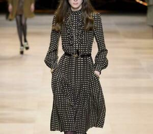 runway new hot Crew neck Long sleeves Panelled Sashes Button Polka dot Dresses $54.00