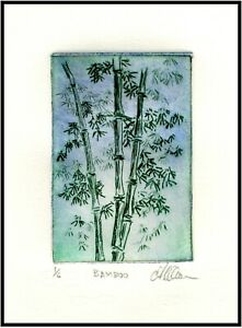 BAMBOO STALKS Original ETCHING Signed Limited edition Botanical Plant Art Print $21.00