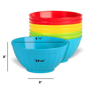 Set of 8 Plastic Bowls 28 oz Large Plastic Cereal Microwave Dishwasher Safe Soup $18.99