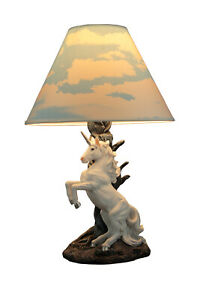 White Rearing Unicorn Table Lamp with Cloud Print Shade $65.95