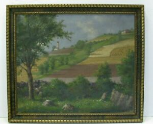 Vintage Landscape Painting Vineyard Country Oil Framed Canvas California Italy $74.95