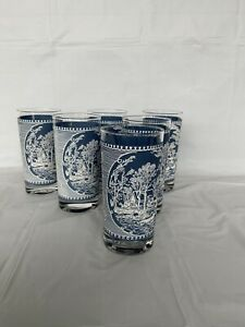 Lot 6 Currier and Ives Glasses Tumblers Old Grist Mill 12 oz. Vintage 5 1 2quot; $33.95