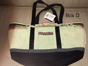 Carleen Powell Silvestri Bag Large Tote Green Pink quilted Box B $6.00