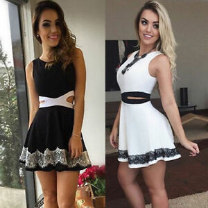 Sexy Casual Summer White Cocktail Party Evening Sleeveless Lace Short Mini Dress