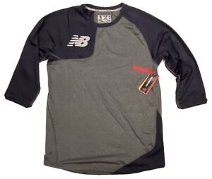NEW MENS NEW BALANCE BASEBALL 3 4 SLEEVE SLIM NB DRY FIT SHIRT GRAY NAVY L $31.99