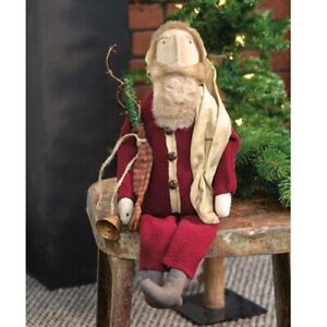 New Primitive Country Aged Vintage Antique Style CHRISTMAS SANTA WITH BELL Doll $24.99