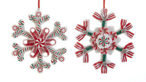 New Christmas Resin Claydough 2 RED PEPPERMINT CANDY CANE SNOWFLAKE Ornament $10.99