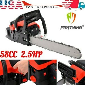 20quot; Gas Chainsaw 58cc Wood Cuttiing Crankcase Gasoline Aluminum Chain Saw 2Cycle $85.88