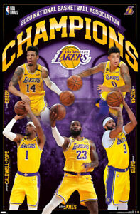 Los Angeles Lakers 2020 NBA CHAMPIONS 5 Player Commemorative 22x34 Wall POSTER $8.99