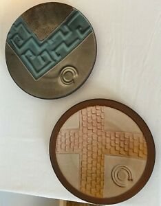 Pair of EITELJORG MUSEUM Opening Commemorative Pottery Wall Plates SIGNED 1989 $35.00