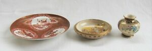 Two Miniature Satsuma Pieces  Eggshell Kutani Dish NR