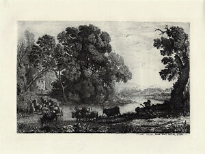 FRAMED 1800s Claude LORRAIN Etching quot;The Herdsmanquot; DURAND Original Signed COA $239.00