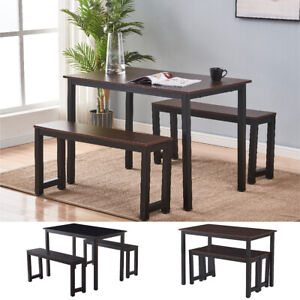 3 Piece Dining Table Set With 2 Benches Wooden Kitchen Dining Room Furniture $109.99