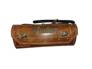 NEW PURE LEATHER TOOL ROLL BAG ENGRAVED FOR INDIAN CHIEF MOTORCYCLE IN TAN COLOR