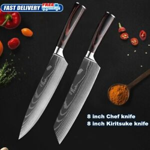 2 Pcs Kitchen Knives Set Stainless Steel Sharp Cleaver Knife Chef#x27;s Best Gift