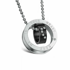 Men Crystal Love Heart quot;KEEP ME IN YOUR HEARTquot; Engraved Couples Necklace Black