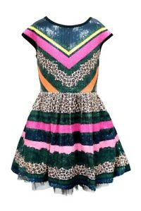 Hanna Banana Girls Fit and Flare Sequin Striped Dress Size 5 Reg. $64 $15.00