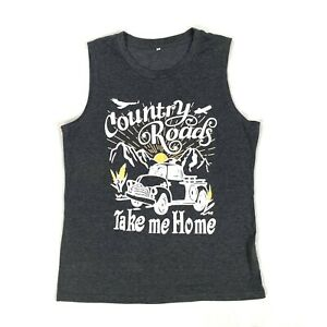 Country Roads printed mens sleeveless tee NWOT Size large cotton blend $6.97