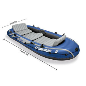 Intex Excursion 5 Person Inflatable Fishing Boat Set with 2 Oars Air Pump and B
