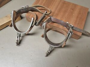 OLD CROCKETT COWBOY SPURS IRON  NICKEL W STRAPS SIGNED ON EDGE CHAPS GUARD